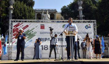 """manifestazione sindacati """"Ripartire dal lavoro"""", piazza del popolo, 18 settembre 2020"""