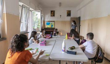 oratorio estivo parrocchia San Gaspare, bambini con mascherina, post-covid, giugno 2020