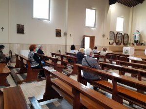 prima messa con i fedeli post-coronavirus, parrocchia di S.Maria Madre della Misericordia, 18 maggio 2020