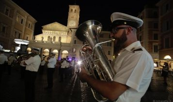Inaugurazione della nuova illuminazione a Santa Maria in Trastevere, 2 luglio 2020